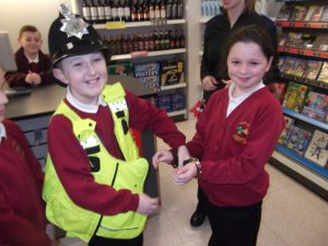Officer Christian, who has an eagle eye, caught Abbey red handed and explained what happens to real thieves.